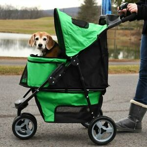 spring-green-Promenade-Pet-Stroller-Large-to-50-LB-dog-carrier-w-Smart-Features