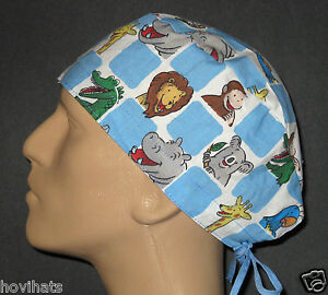 CURIOUS-GEORGE-AT-THE-ZOO-SQUARES-SCRUB-HAT-RARE-WITH-FREE-CUSTOM-SIZING