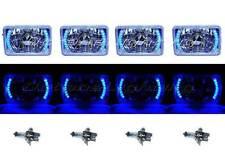 """4X6"""" Blue LED Halo Drl Halogen Headlight Headlamp Light Bulbs Crystal Clear Set"""