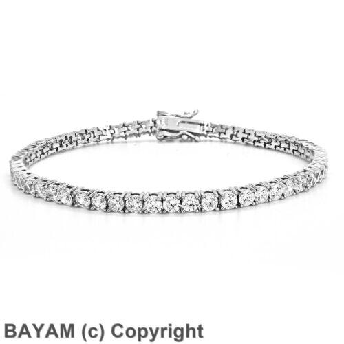 Diamonique Zircon Cubique Round Cut Prong Set Tennis Bracelet Argent Sterling 8.4TCW 925