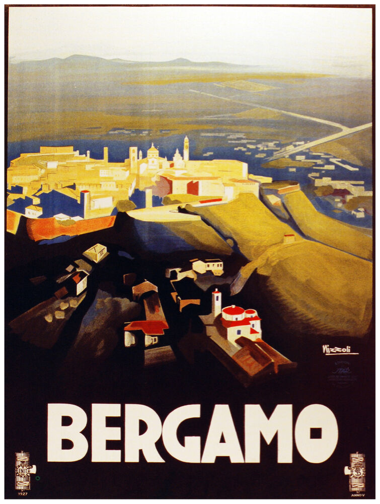 9823.Bergamo.small mountain side village.POSTER cor Home Office art