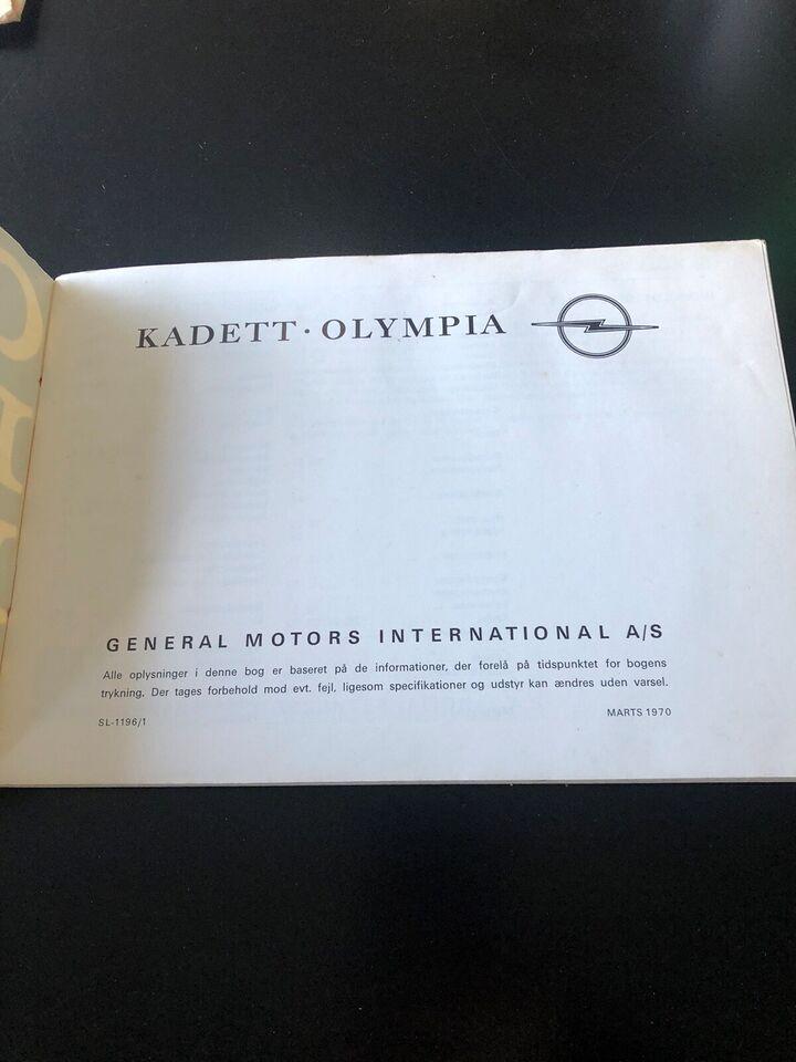 Instruktionsbog, Opel Kadett Olympia