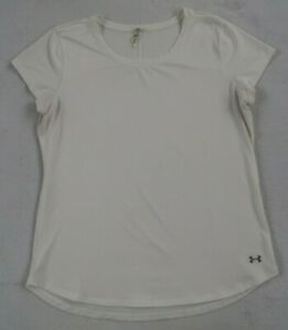 Under-Armour-Women-039-s-Fitted-Heat-Gear-S-S-Scoop-Neck-White-Athletic-T-Shirt-L