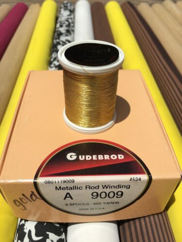 Gudebrod  Metallic Fishing Rod Winding thread  Size A Color Glitzy Gold  900...