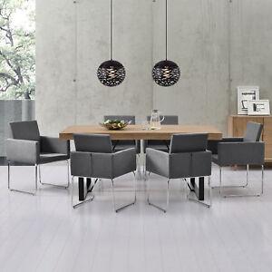 esstisch mit 6 st hlen eiche whitewash 180x100 tisch st hle dunkelgrau ebay. Black Bedroom Furniture Sets. Home Design Ideas