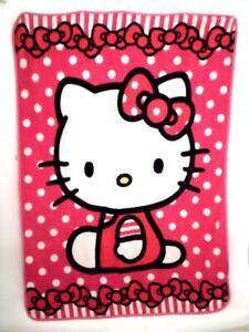 "Hello Kitty Fleece Blanket 50 x 60/"" Plush Throw Blanket Offical Sanrio Paisly Bk"