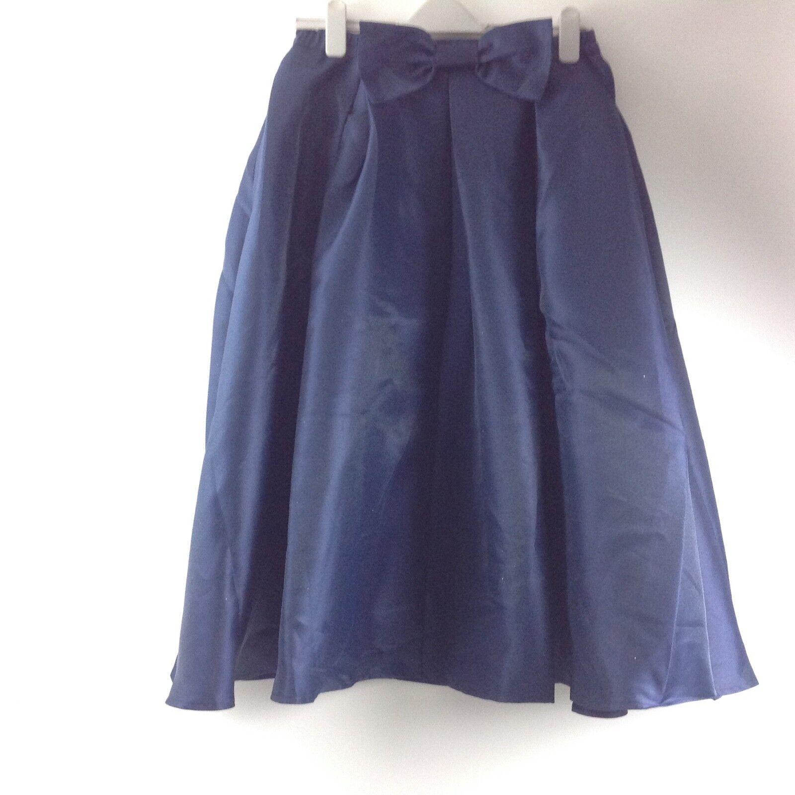 Susanna C5 Women's Flare High Waisted Midi Skirt Size XL Pleated Navy bluee Bow