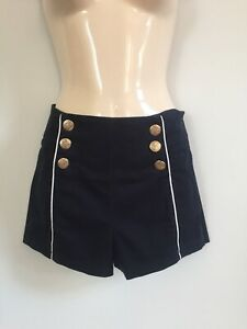 ZARA-NAVY-BLUE-COTTON-SAILOR-SHORTS-WITH-BRASS-BUTTONS-SIZE-8-EUR-36-US-4
