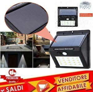 Luce-20-LED-sensore-pannello-solare-ricaricabile-senza-fili-GIARDINO-ESTERNO