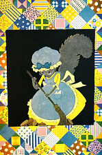 Elizabeth Cadie 1925 GRANDMA MOUSE in EYEGLASSES Patchwork Quilt Print Matted