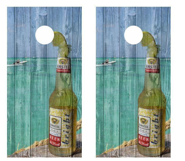 Amstel Bright Caribbean Beer Tropical Scene Barnwood Cornhole Board Wraps