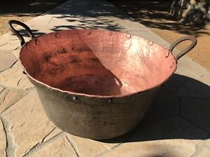 ANTIQUE-COPPER-KETTLE-CANDY-APPLE-BUTTER-1700-s-1800-s-HUGE-LARGE-13-RIVETS-XL