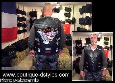 """Gilet jacket blouson sans manche en cuir /"""" Aigle Live To Ride /"""" S à 7XL"""