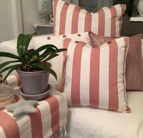 Table Runner Dusty Pink and White Stripe Cotton Ribbed Fabric  34 x 180 cm Capri