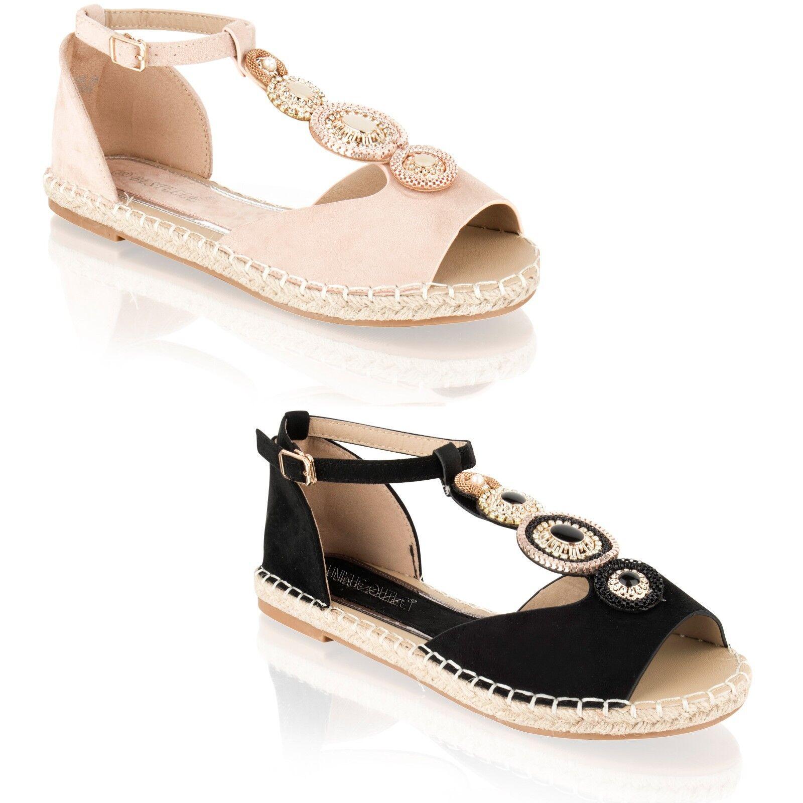 Womens Summer Ladies Flat Espadrille Diamante Summer Womens Sandals Ankle Strap Peep Toe Shoes c74563