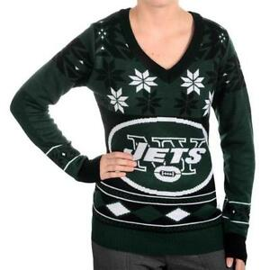 sale retailer 0ead7 6361b Details about New York Jets WOMENS Ugly Christmas Sweater BIG LOGO V Neck  NFL NEW 2015