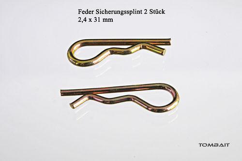 2 Stück Federstecker 2,4 x 31 mm Splinte Feder-Splint Federsplinte b33v