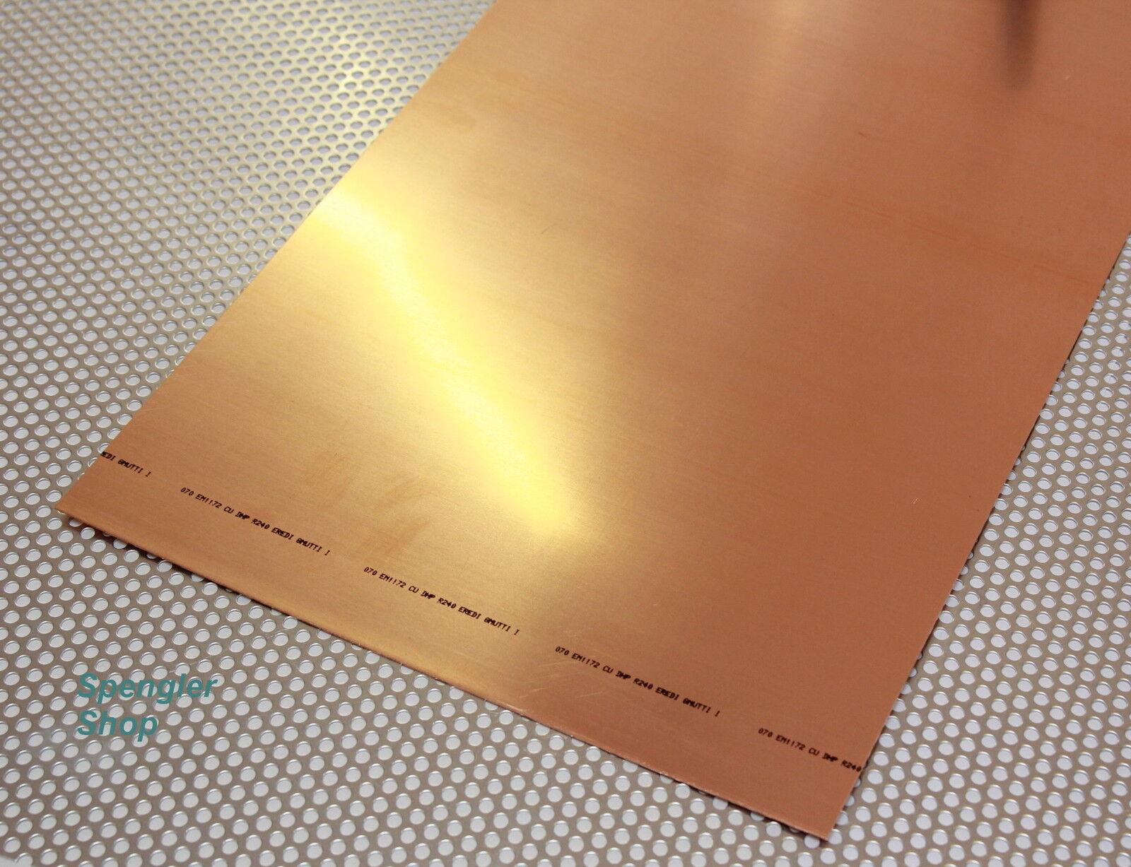 2 m² Kupferblech 0,70 mm in Streifen.