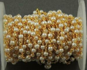 3,5,10 Feet Natural Pearl Smooth Beads 3mm Rosary Chain Gold Plated Beaded Chain