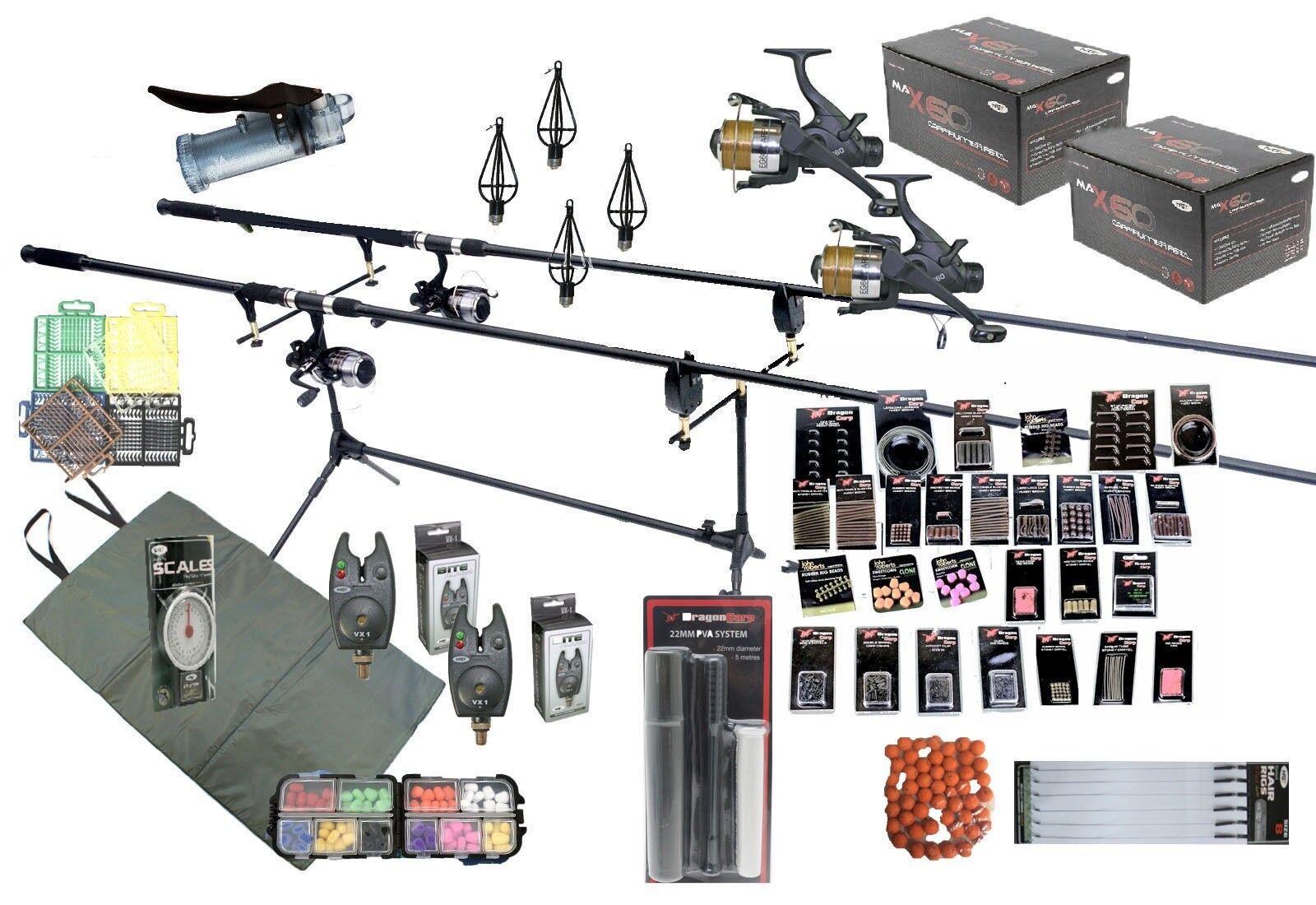 Kit voor het vissen van de karpers  Set Rods Reels Bait Tools Mat Tackle GIANT Accessory Pack