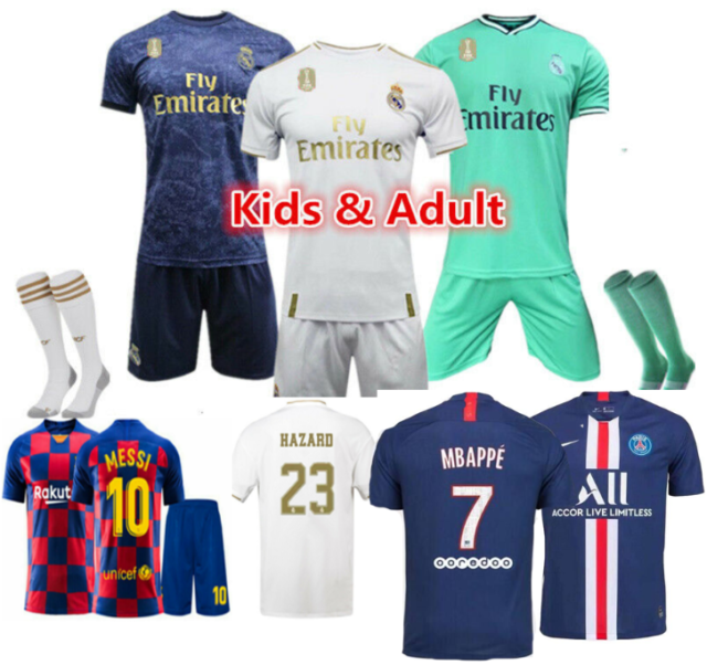 wholesale dealer 32bea 2d0df NEW 19/20 Soccer 3-14 Years Football Short Sleeve Kids Boys Jersey Kit &  Socks