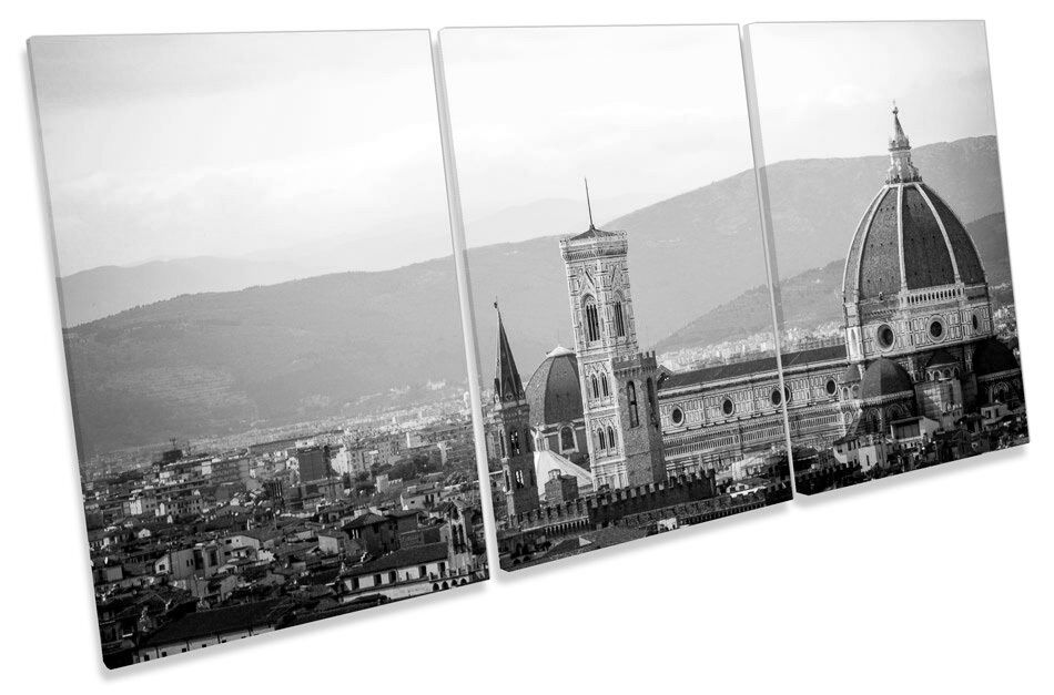 Florence Sunset City B&W TREBLE CANVAS WALL ART Picture Print
