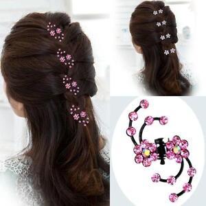 6Stueck-Haarclip-Bluete-Haarspange-Haarschmuck-Blume-Mini-Haarklammern-Strass-Claw