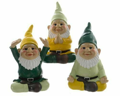 Set of 3 Sitting Yoga Gnomes in Different Poses Outdoor and Indoor