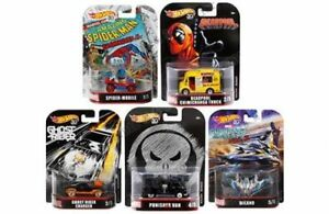 HOT-WHEELS-RETRO-ENTERTAINMENT-2018-SET-OF-5-DIECAST-MARVEL-DEADPOOL-SPIDER-1-64