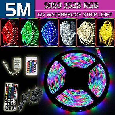 5M SMD 3528/5050 RGB LED Strip Light + 12V Power Adapter+ IR Remote Waterproof