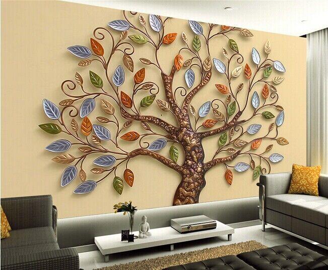 3D Geprägter Blätter Baum  88 Tapete Wandgemälde Tapete Tapeten Bild Familie DE