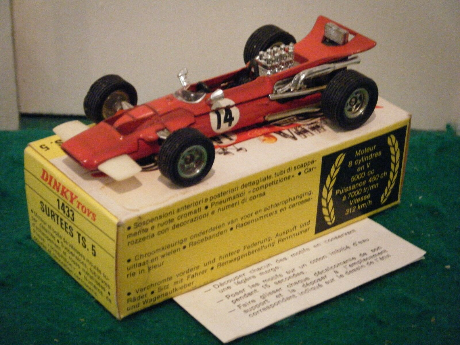 French Dinky No  1433  Surtees TS5 Racing Car  - Red (Original 1970's)
