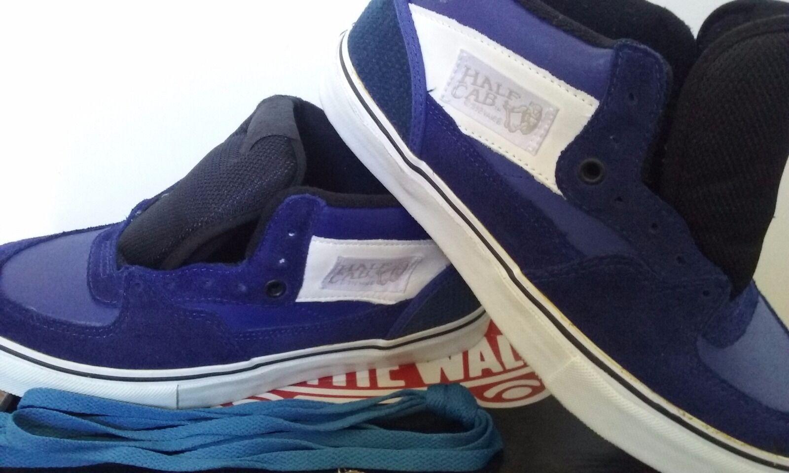 Men's White Label/Midnight Blue Half Cab Pro Vans Shoes Size 8