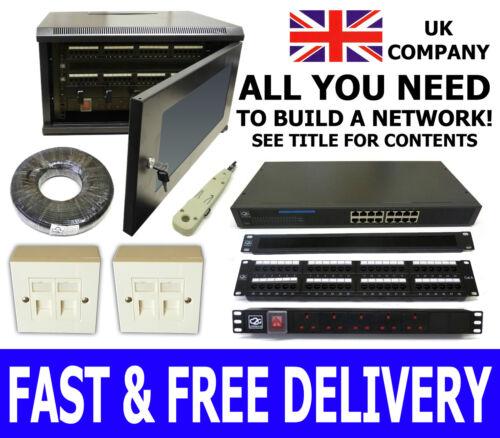 RJ45 Boxes 6U Network kit Tool 6 Way PDU 300mm Wall Cabinet Tidy Bars