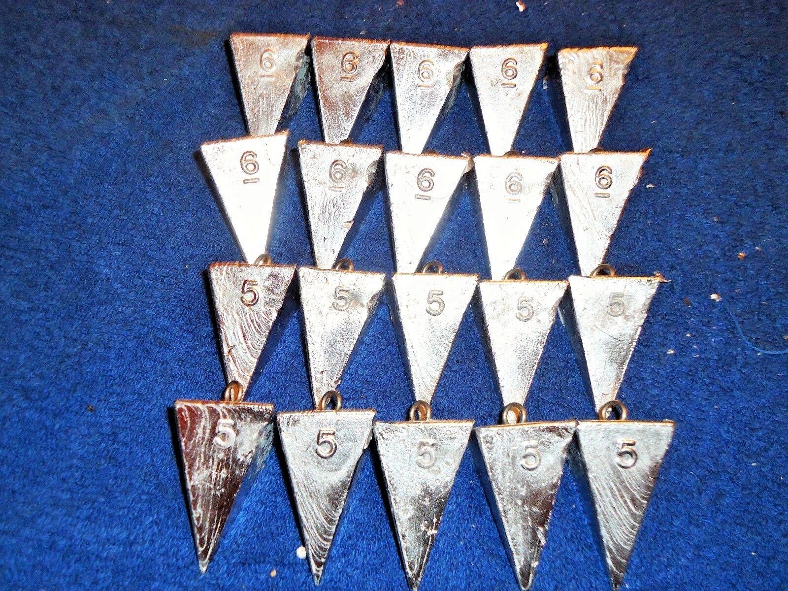 4 OZ  5 OZ  6 OZ PYRAMID SURF DECOY SINKERS LEAD WEIGHTS BRASS EYES