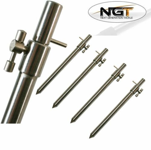 3 BLACK  BUTT RESTS CARP FISHING STAINLESS GOAL POST BUZZ BAR SET BANK STICKS