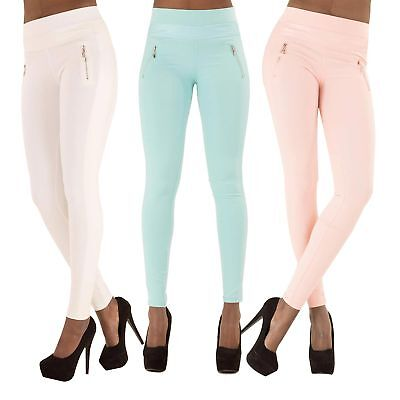 100% QualitäT Sale! Women's Sexy Fit Leggings White Beige Blue Pink Trousers Pants Size 10-14 Offensichtlicher Effekt