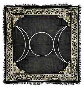 """Triple Moon in Gold & Silver Altar Cloth 36"""" x 36"""" Wicca Wiccan Free shipping"""