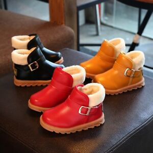 Children-Kid-Baby-Girls-Solid-Leather-Warm-Martin-Boots-Princess-Winter-Shoes