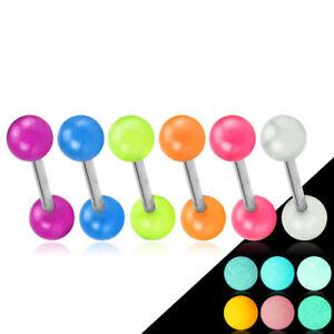 6er-Piercing-Set-Zungenpiercing-Barbell-Edelstahl-Stab-glow-in-the-dark-Kugel