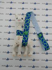 Sophie The Giraffe Harness Toy Saver Strap Leash, Blue Green Giraffe Pattern