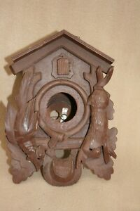 VINTAGE WOODEN CUCKOO CLOCK CASE FOR SPARES OR REPAIR