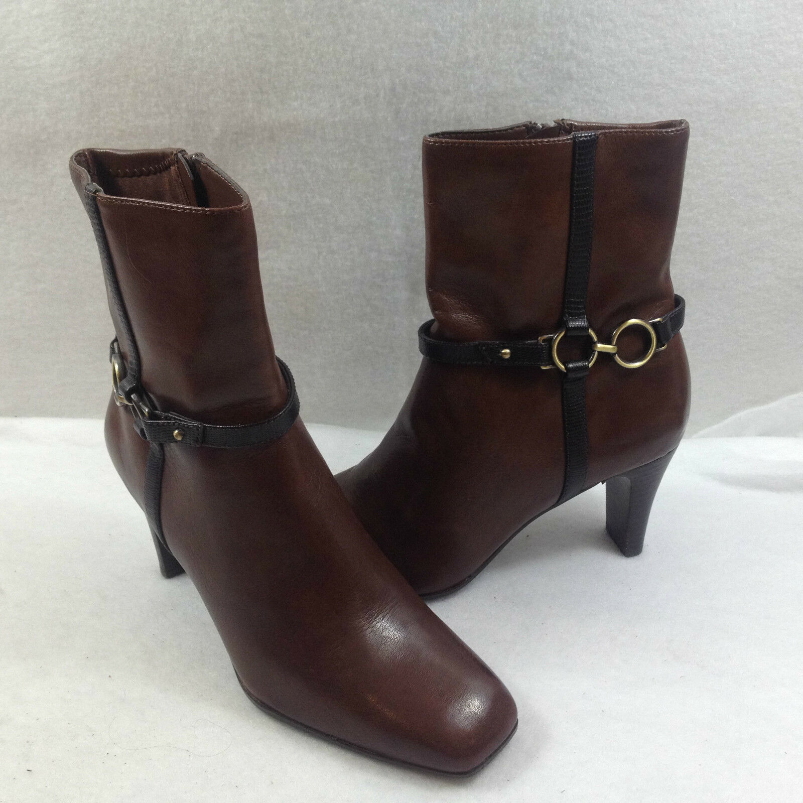 Liz Claiborne Side Zip Brown Ankle Boots Womens Size 6 M