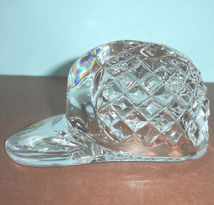 Waterford-Baseball-Hat-Cap-Paperweight-Cut-Crystal-5-long-New