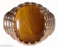 Mens Huge Genuine Brown Tiger Eye 18kt Gold Plated Ring Size 13