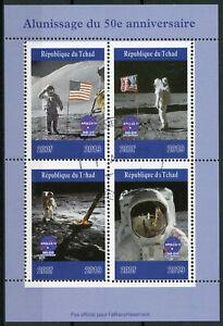 Chad-2019-CTO-Atterraggio-sulla-Luna-Apollo-11-Neil-Armstrong-4v-M-S-FRANCOBOLLI-DELLO-SPAZIO