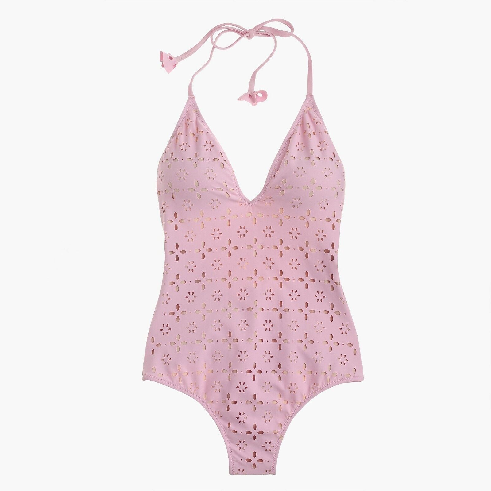 NWT J. Crew Halter One-Piece Swimsuit in Laser-Cut Eyelet - Berry bluesh - Size 6