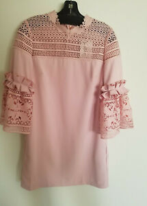 53d84044c NWT Ted Baker Lucila Lace Panel Bell Sleeve Tunic Dusky Pink Dress ...