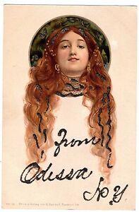 SUPER-Art-Nouveau-German-Postcard-Lady-Flowing-Hair-Mucha-1908-Dondorf-RARE