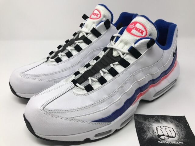 on sale 3363f 21e7d NIKE AIR MAX 95 ESSENTIAL WHITE BLACK SOLAR RED  BLUE Size 13